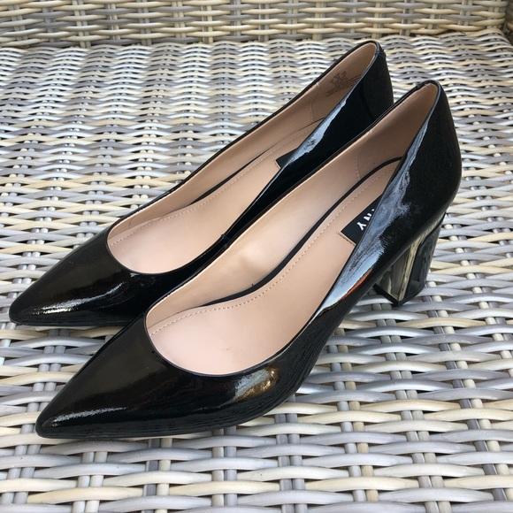 Dkny Black Patent Pumps 9 Block Heels